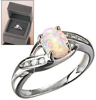 Avon Sterling Silver Created Opal Ring in Gift Box