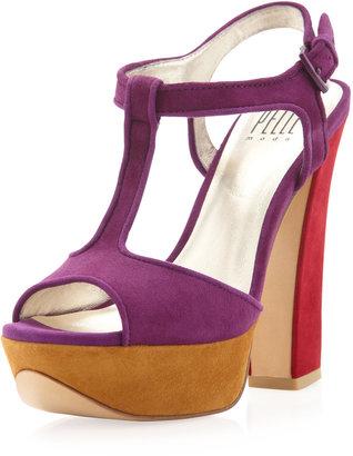 Pelle Moda Yvanka Colorblock T-Strap Sandal, Purple