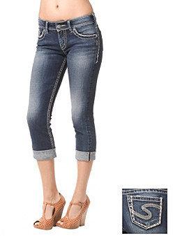 Silver Jeans Co. Suki Curvy Fit Mid Rise Roll Cuff Capri Jeans