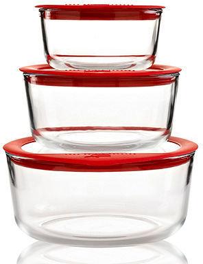 Pyrex CLOSEOUT! 6 Piece No Leak Storage Set with Glass Lids