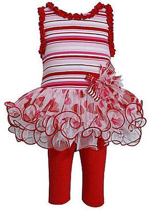 Bonnie Baby 12-24 Months Striped Tutu-Skirted Dress & Leggings Set
