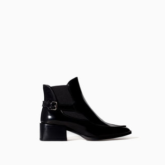 Zara Leather Ankle Boot With Strap
