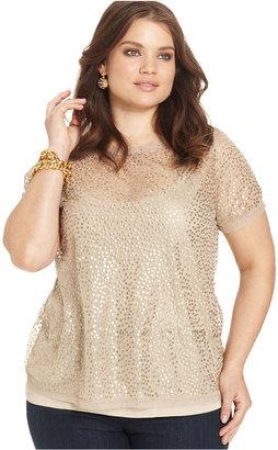 INC International Concepts Plus Size Cap-Sleeve Sequin Top