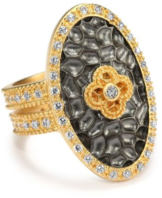 "Belargo Jewelry "" HAMPTON"" Large Two Tone Oval Floral Ring"