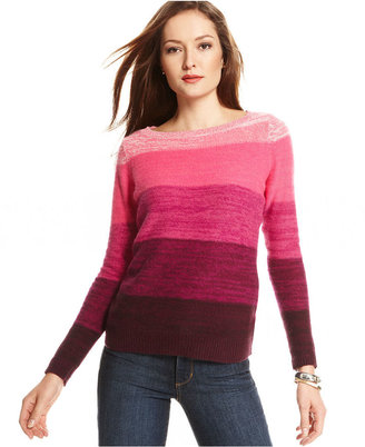 Charter Club Sweater, Long-Sleeve Cashmere Striped Marled-Knit