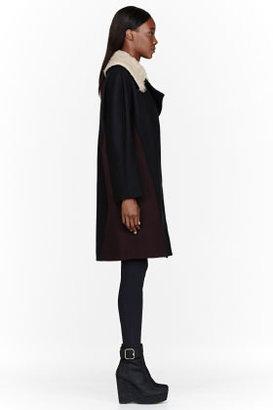 Stella McCartney Black Wool & shearling Boxy Coat