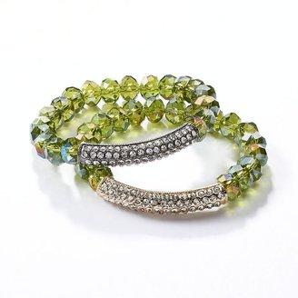 Vera Wang Simply vera two tone simulated crystal & bead stretch bracelet set