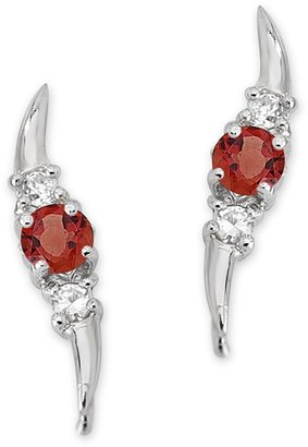 The Ear Pin Garnets and Cubic Zirconias Triple Stone Sterling Silver Earrings