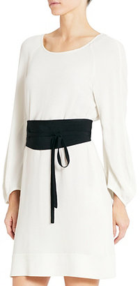 Diane von Furstenberg Eribec Belted Dress In Lunar Moon/ Black