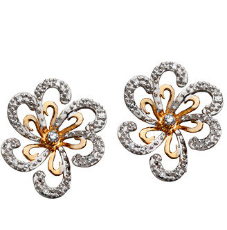 Topten White and Yellow Gold Diamond Flower Stud Earrings