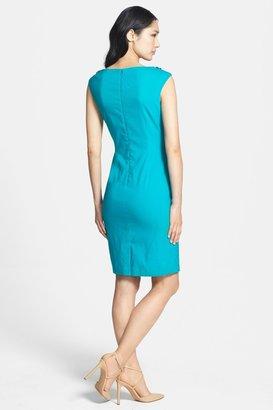 Adrianna Papell Beaded Neck Linen Blend Sheath Dress