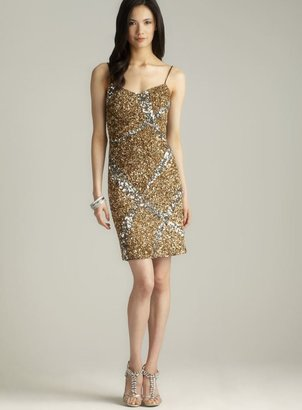 Theia Ribbon Sequinned Slip Dress