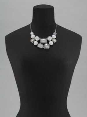 New York & Co. Grey Geometric Faceted Bib Necklace