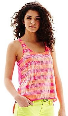 L'amour Nanette Lepore Striped Sequin Tank Top