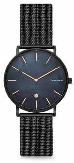 Skagen Hagen Two-Hand Mother-Of-Pearl Stainless Steel Mesh Bracelet Watch