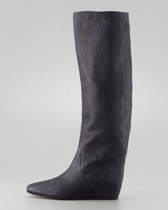 Lanvin Leather Wedge Knee Boot, Dark Black