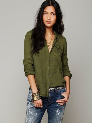 Free People Solid Gauze Button Down