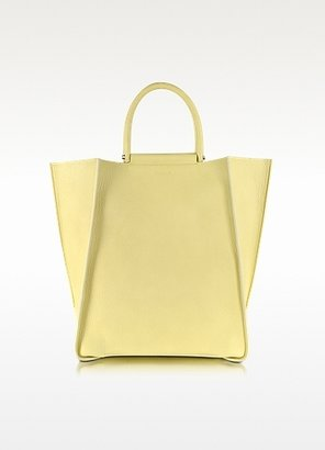 Jil Sander Minimal Tote in Pale Yellow Leather