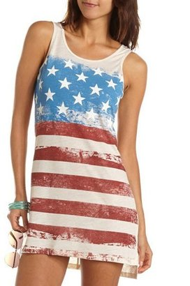 Charlotte Russe Knot-Back Americana Tank Dress