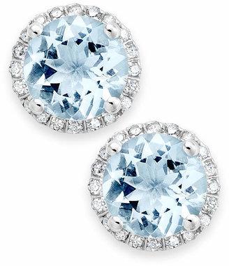 Macy's Aquamarine (2 ct. t.w.) and Diamond (1/5 ct. t.w.) Stud Earrings in 14k White Gold