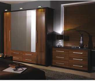 Albany Gloss 5-door, 4-drawer Mirrored Wardrobe
