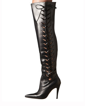 Manolo Blahnik Lace-Up Cutout Over-the-Knee Boot