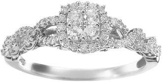 Vera Wang Simply Vera Diamond Twist Frame Engagement Ring in 14k White Gold (1/3 ct. T.W.)