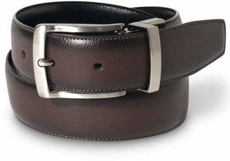 Perry Ellis Portfolio Men's Leather Burnished Edge Reversible Belt