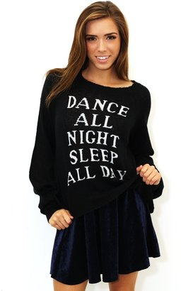 Wildfox Couture White Label Dance All Night Pfeiffer Sweater In Clean Black