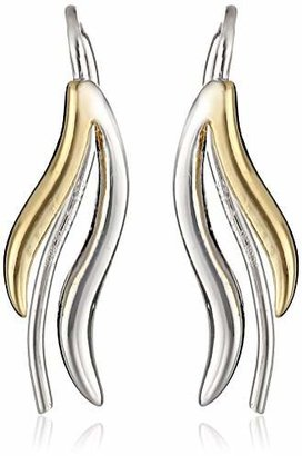 The Ear Pin Sterling Silver Two Tone Double Wings Polished Bright Earrings