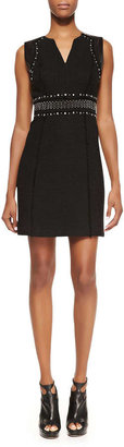 Rebecca Taylor Studded Tweed Dress, Black