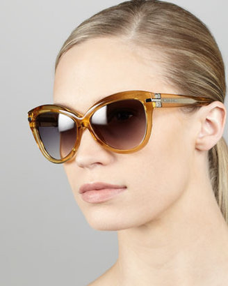 Marc Jacobs Transparent-Framed Cat-Eye Sunglasses, Ochre