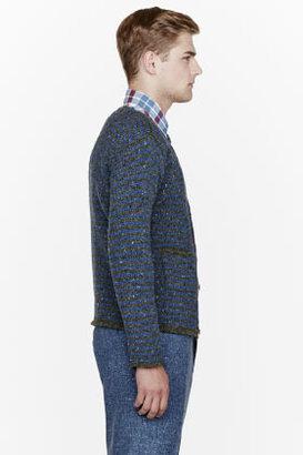 Thom Browne Blue confetti & stripe cardigan