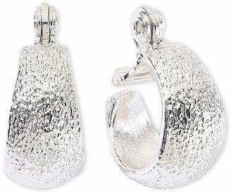 MONET JEWELRY Monet Silver-Tone Small Clip-On Hoop Earrings