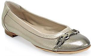 Attilio Giusti Leombruni D558034 - Silver Leather Buckle Ballet Flat