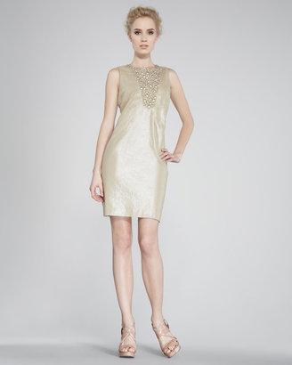 2 B Rych Bead-Front Taffeta Sheath Dress