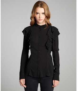 RED Valentino black ruffle detailed button front blouse