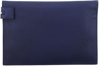 Victoria Beckham Large Snake Zip Clutch Bag, Gray/ Blue