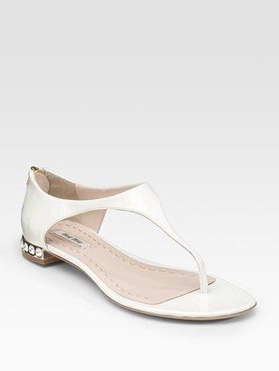 Miu Miu Patent Leather Thong Sandals
