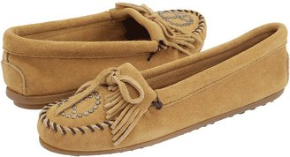 Minnetonka Peace Sign Moccasin (Tan Suede) - Footwear