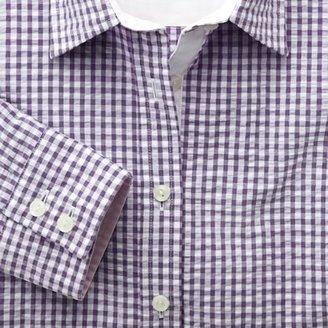 Charles Tyrwhitt Lilac seersucker gingham semi-fitted shirt