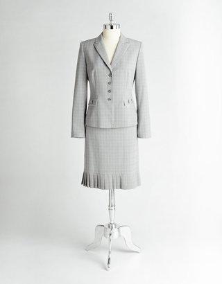 Tahari ARTHUR S. LEVINE Glen Plaid Pleated Skirt Suit