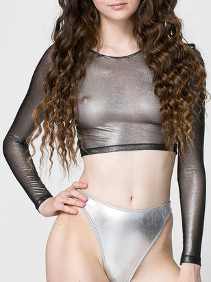 American Apparel Shiny Mesh Long Sleeve Crop Top