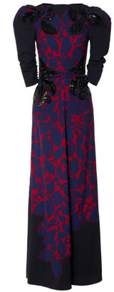 Marc Jacobs Breadfruit Satin Back Crepe Gown With Leaf Applique