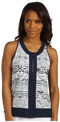 Kenneth Cole New York - Front Zip Printed Tank (Platinum Combo) - Apparel