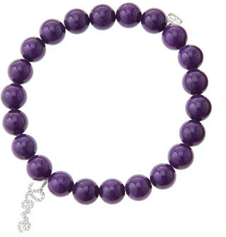 Sydney Evan 8mm Purple Mountain Jade Beaded Bracelet with 14k White Gold/Diamond Love Charm (Made to Order)