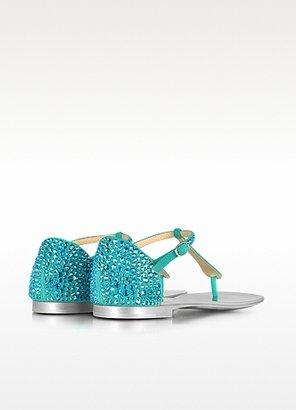 Giuseppe Zanotti Crystal-Strap Suede Flat Sandal