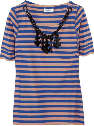 Sonia Rykiel Sonia by Collar-embellished striped cotton top