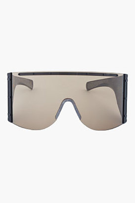 Rick Owens Oversize Brown & Black Etched Buffalo Horn Shield Sunglasses