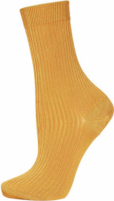 Topshop Gold Slinky Ankle Socks